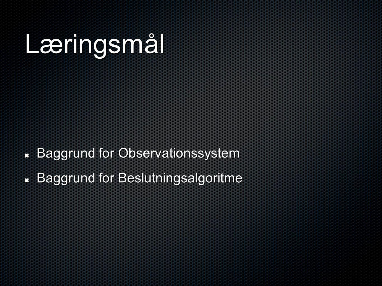 Læringsmål Baggrund for Observationssystem Baggrund for Beslutningsalgoritme