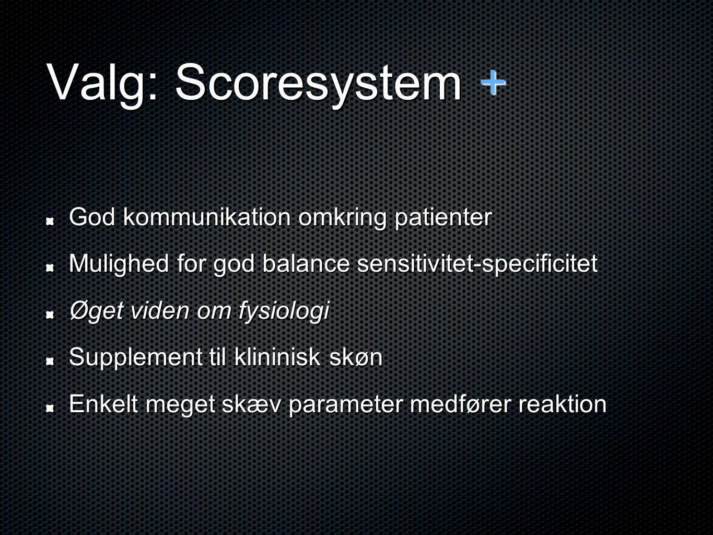 Valg: Scoresystem + God kommunikation omkring patienter Mulighed for god balance sensitivitet-specificitet Øget viden om fysiologi Supplement til klininisk skøn Enkelt meget skæv parameter medfører reaktion