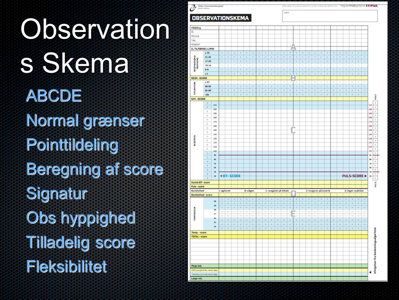 Observation s Skema ABCDE Normal grænser Pointtildeling Beregning af score Signatur Obs hyppighed Tilladelig score Fleksibilitet