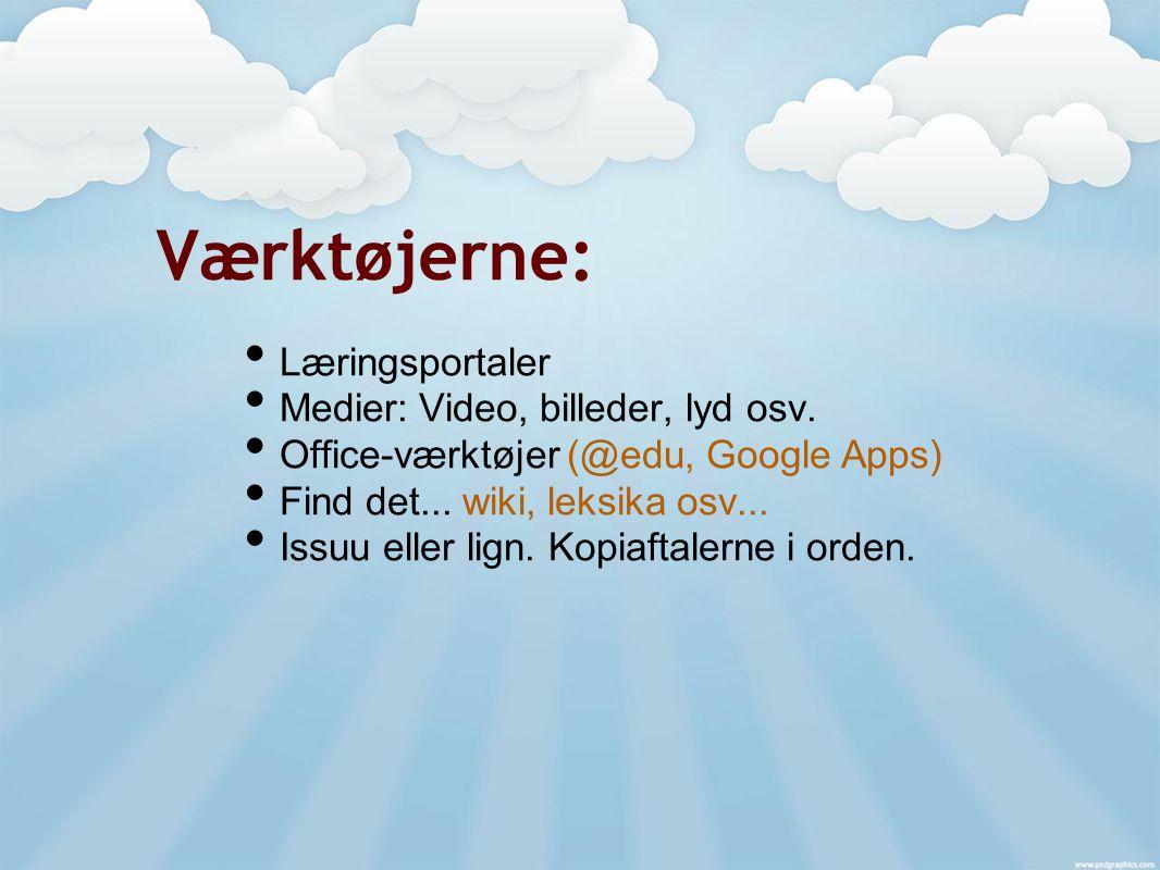 Værktøjerne: Læringsportaler Medier: Video, billeder, lyd osv.