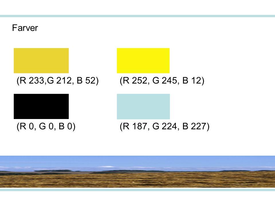 Farver (R 233,G 212, B 52)(R 252, G 245, B 12) (R 187, G 224, B 227)(R 0, G 0, B 0)