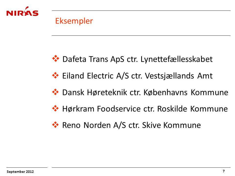 September 2012 7 Eksempler  Dafeta Trans ApS ctr.