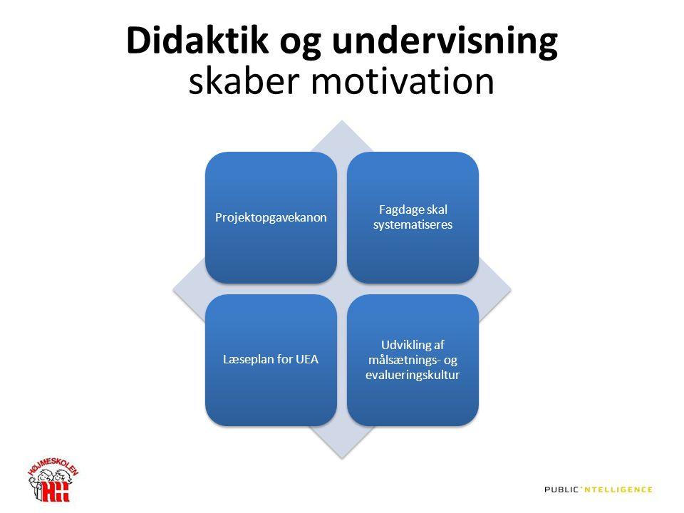 Didaktik og undervisning skaber motivation Projektopgavekanon Fagdage skal systematiseres Læseplan for UEA Udvikling af målsætnings- og evalueringskultur