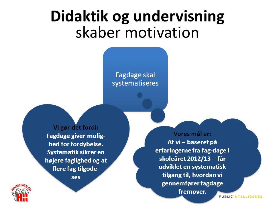 Didaktik og undervisning skaber motivation Fagdage skal systematiseres Vi gør det fordi: Fagdage giver mulig- hed for fordybelse.
