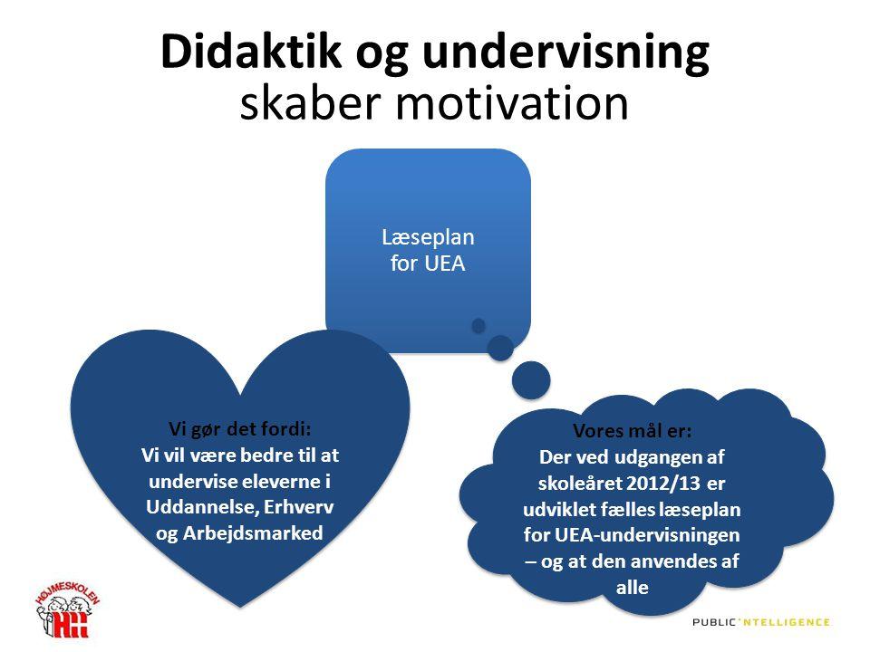 Didaktik og undervisning skaber motivation Læseplan for UEA Vi gør det fordi: Vi vil være bedre til at undervise eleverne i Uddannelse, Erhverv og Arbejdsmarked Vi gør det fordi: Vi vil være bedre til at undervise eleverne i Uddannelse, Erhverv og Arbejdsmarked Vores mål er: Der ved udgangen af skoleåret 2012/13 er udviklet fælles læseplan for UEA-undervisningen – og at den anvendes af alle Vores mål er: Der ved udgangen af skoleåret 2012/13 er udviklet fælles læseplan for UEA-undervisningen – og at den anvendes af alle