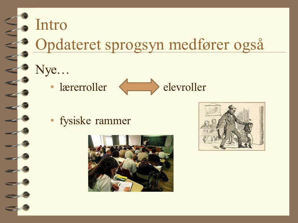 Intro Opdateret sprogsyn medfører også Nye… lærerroller elevroller fysiske rammer