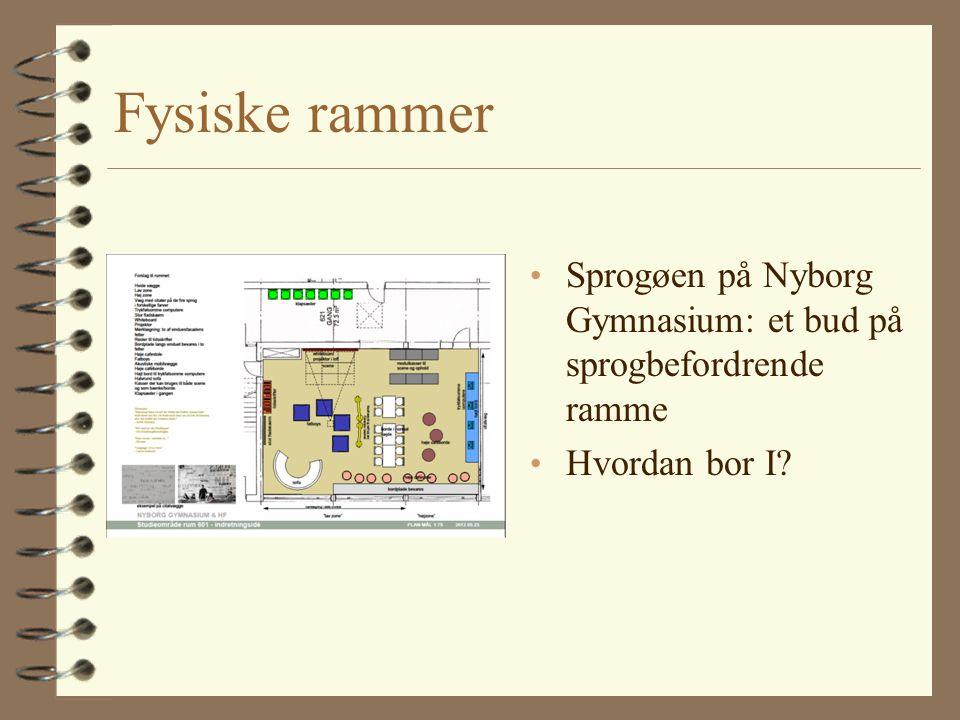 Fysiske rammer Sprogøen på Nyborg Gymnasium: et bud på sprogbefordrende ramme Hvordan bor I