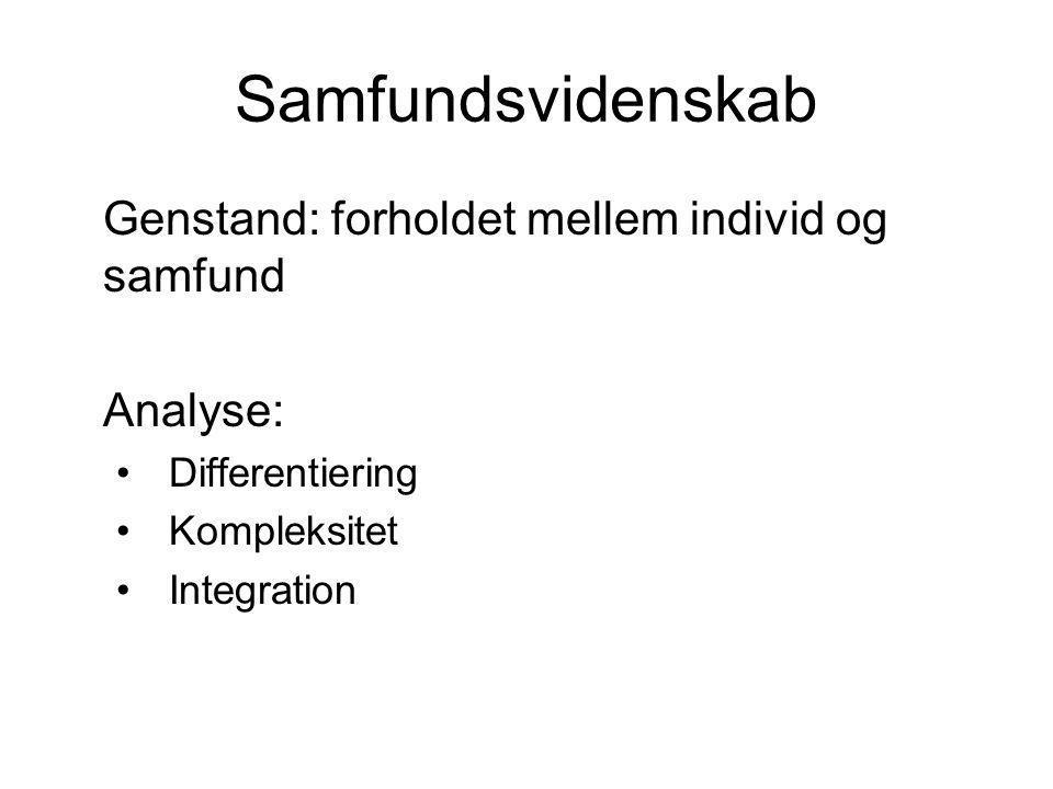 Samfundsvidenskab Genstand: forholdet mellem individ og samfund Analyse: Differentiering Kompleksitet Integration