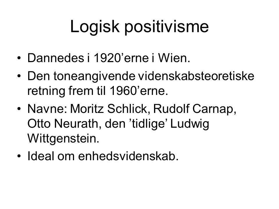 Logisk positivisme Dannedes i 1920'erne i Wien. Den toneangivende videnskabsteoretiske retning frem til 1960'erne. Navne: Moritz Schlick, Rudolf Carna