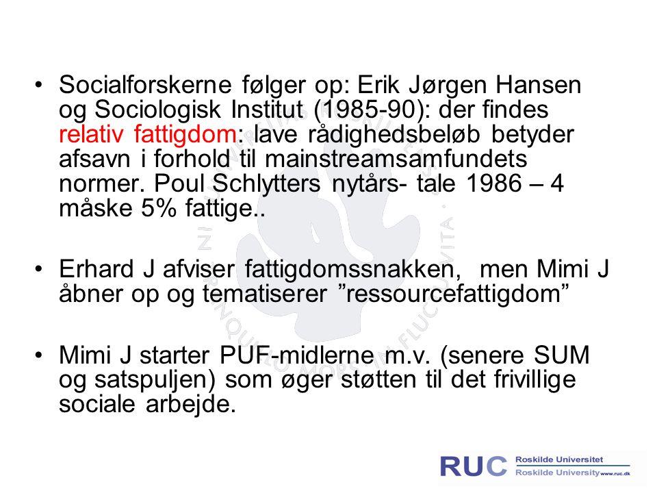 Socialforskerne følger op: Erik Jørgen Hansen og Sociologisk Institut (1985-90): der findes relativ fattigdom: lave rådighedsbeløb betyder afsavn i forhold til mainstreamsamfundets normer.