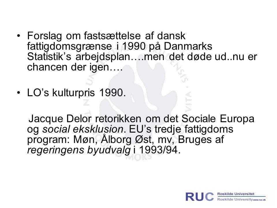 Forslag om fastsættelse af dansk fattigdomsgrænse i 1990 på Danmarks Statistik's arbejdsplan….men det døde ud..nu er chancen der igen….