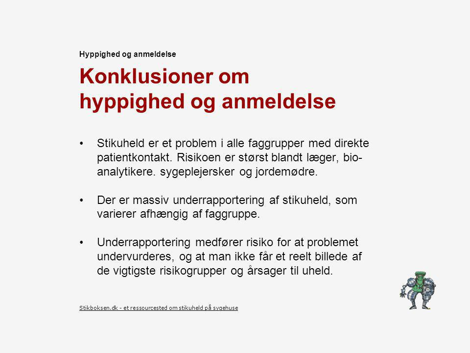 Konklusioner om hyppighed og anmeldelse Stikuheld er et problem i alle faggrupper med direkte patientkontakt.
