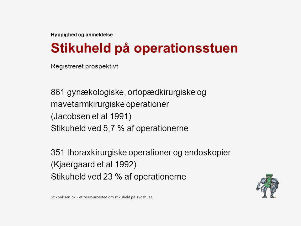 Stikuheld på operationsstuen 861 gynækologiske, ortopædkirurgiske og mavetarmkirurgiske operationer (Jacobsen et al 1991) Stikuheld ved 5,7 % af operationerne 351 thoraxkirurgiske operationer og endoskopier (Kjaergaard et al 1992) Stikuheld ved 23 % af operationerne Hyppighed og anmeldelse Stikboksen.dk - et ressourcested om stikuheld på sygehuse Registreret prospektivt