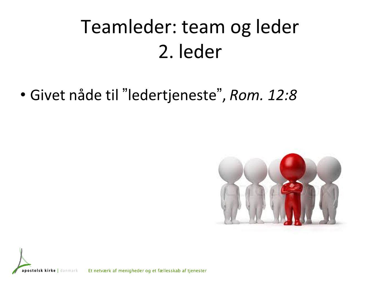 Teamleder: team og leder 2. leder Givet nåde til ledertjeneste , Rom. 12:8