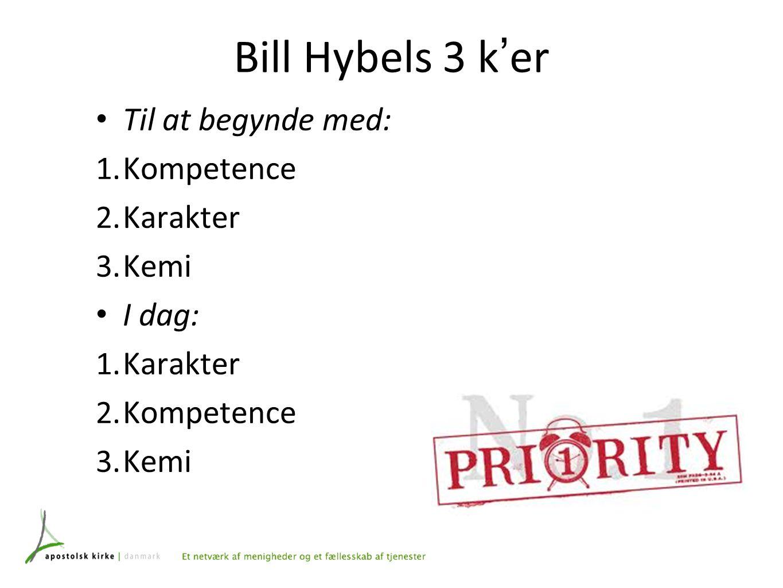 Bill Hybels 3 k ' er Til at begynde med: 1. Kompetence 2.