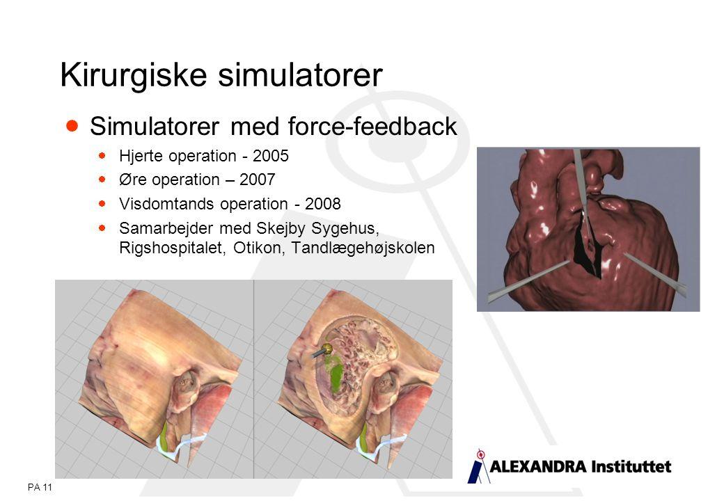PA 11  Simulatorer med force-feedback  Hjerte operation - 2005  Øre operation – 2007  Visdomtands operation - 2008  Samarbejder med Skejby Sygehus, Rigshospitalet, Otikon, Tandlægehøjskolen Kirurgiske simulatorer