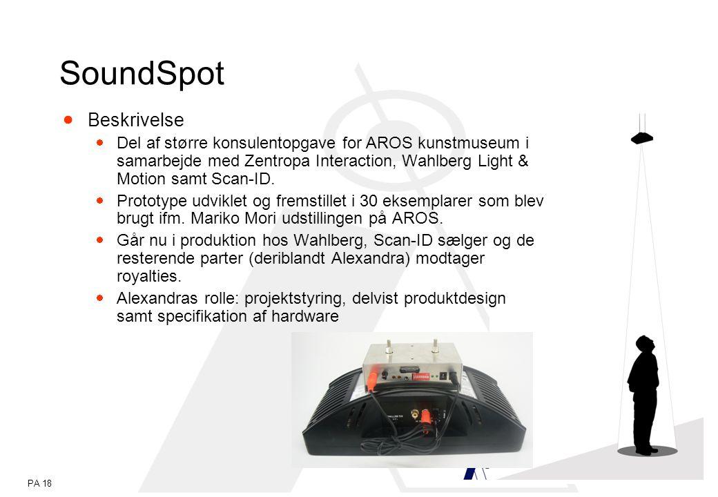 PA 18 SoundSpot  Beskrivelse  Del af større konsulentopgave for AROS kunstmuseum i samarbejde med Zentropa Interaction, Wahlberg Light & Motion samt Scan-ID.