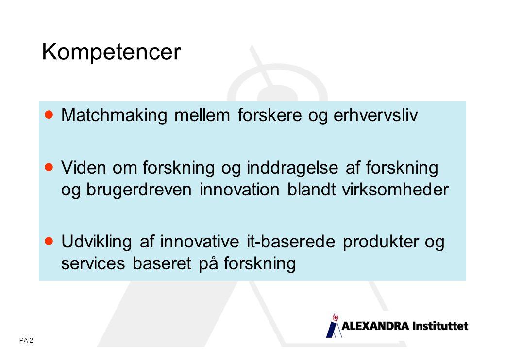 PA 2 Kompetencer  Matchmaking mellem forskere og erhvervsliv  Viden om forskning og inddragelse af forskning og brugerdreven innovation blandt virksomheder  Udvikling af innovative it-baserede produkter og services baseret på forskning