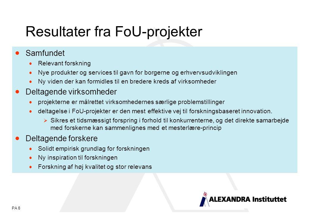 PA 8 Resultater fra FoU-projekter  Samfundet  Relevant forskning  Nye produkter og services til gavn for borgerne og erhvervsudviklingen  Ny viden der kan formidles til en bredere kreds af virksomheder  Deltagende virksomheder  projekterne er målrettet virksomhedernes særlige problemstillinger  deltagelse i FoU-projekter er den mest effektive vej til forskningsbaseret innovation.