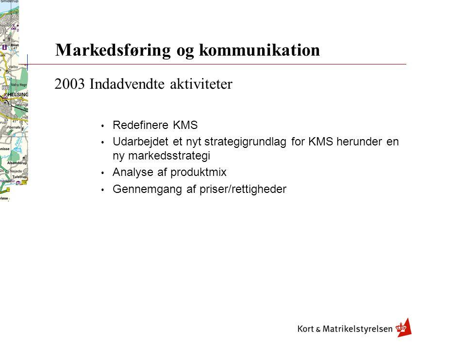 Markedsføring og kommunikation 2003 Indadvendte aktiviteter Redefinere KMS Udarbejdet et nyt strategigrundlag for KMS herunder en ny markedsstrategi Analyse af produktmix Gennemgang af priser/rettigheder