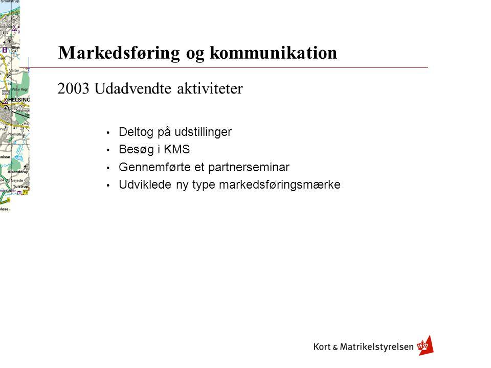 Markedsføring og kommunikation 2003 Udadvendte aktiviteter Deltog på udstillinger Besøg i KMS Gennemførte et partnerseminar Udviklede ny type markedsføringsmærke