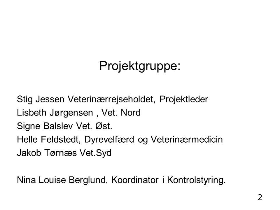 Projektgruppe: Stig Jessen Veterinærrejseholdet, Projektleder Lisbeth Jørgensen, Vet.