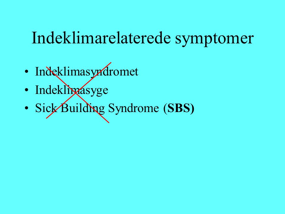 Indeklimarelaterede symptomer Indeklimasyndromet Indeklimasyge Sick Building Syndrome (SBS)