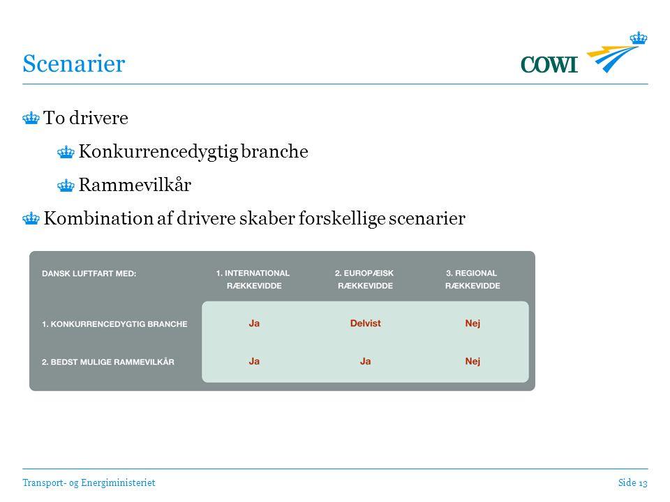 Transport- og EnergiministerietSide 13 Scenarier To drivere Konkurrencedygtig branche Rammevilkår Kombination af drivere skaber forskellige scenarier