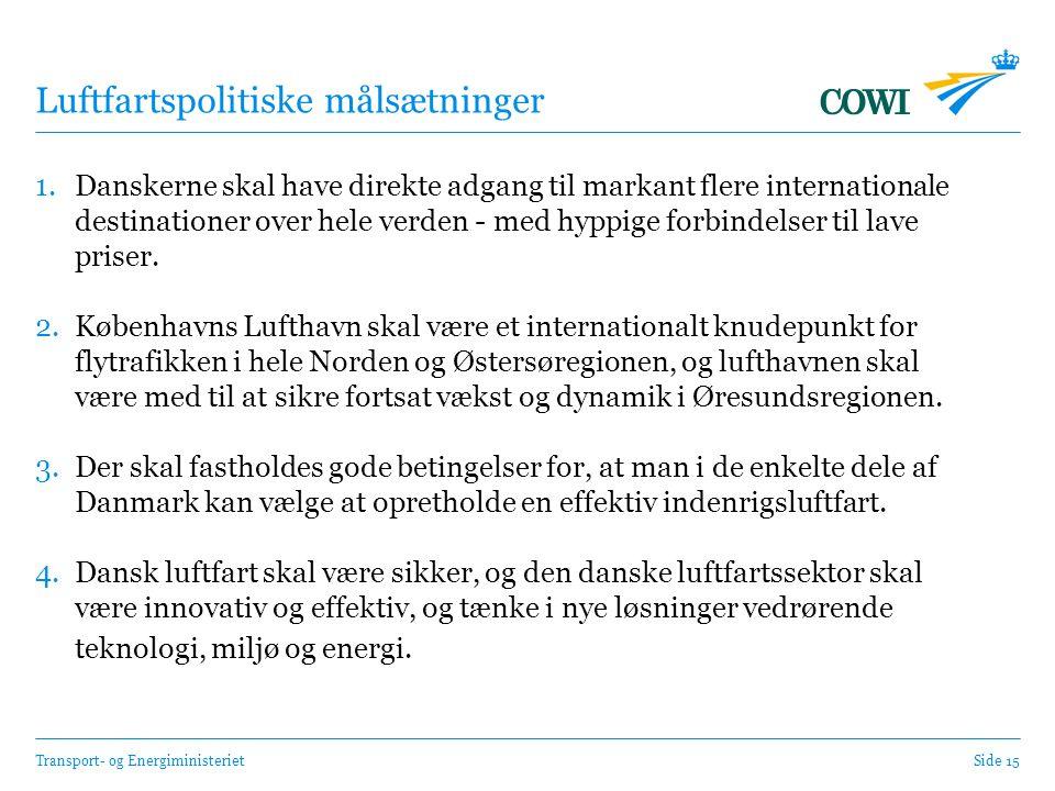Transport- og EnergiministerietSide 15 Luftfartspolitiske målsætninger 1.Danskerne skal have direkte adgang til markant flere internationale destinationer over hele verden - med hyppige forbindelser til lave priser.