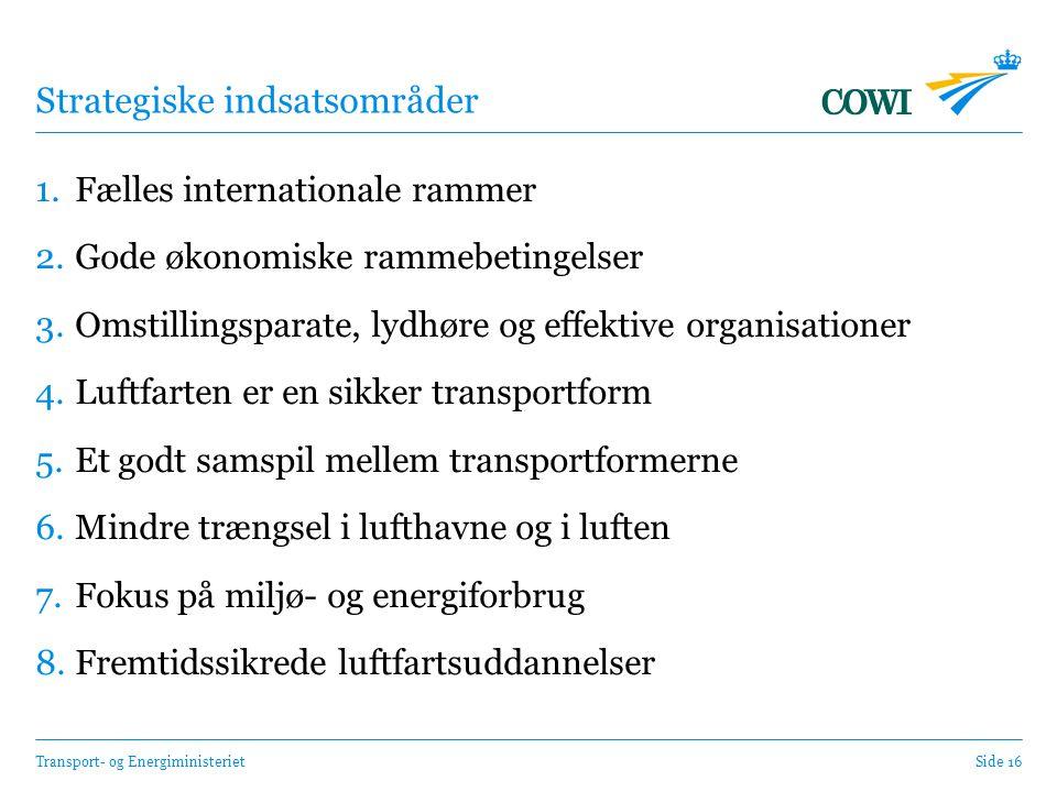 Transport- og EnergiministerietSide 16 Strategiske indsatsområder 1.Fælles internationale rammer 2.Gode økonomiske rammebetingelser 3.Omstillingsparate, lydhøre og effektive organisationer 4.Luftfarten er en sikker transportform 5.Et godt samspil mellem transportformerne 6.Mindre trængsel i lufthavne og i luften 7.Fokus på miljø- og energiforbrug 8.Fremtidssikrede luftfartsuddannelser