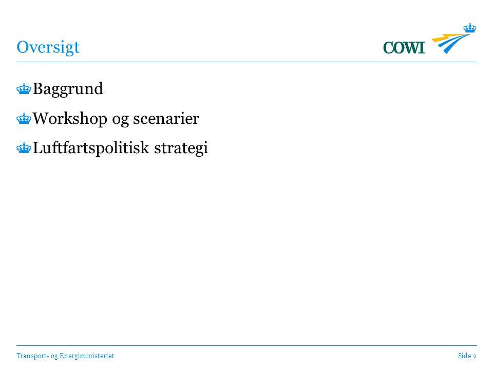 Transport- og EnergiministerietSide 2 Oversigt Baggrund Workshop og scenarier Luftfartspolitisk strategi