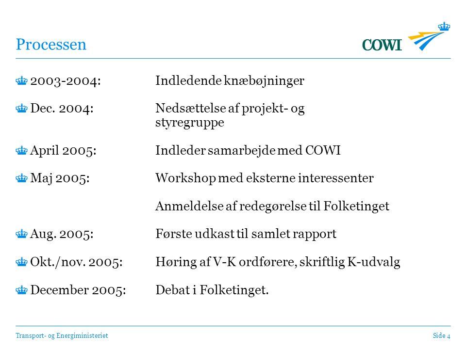 Transport- og EnergiministerietSide 4 Processen 2003-2004: Indledende knæbøjninger Dec.