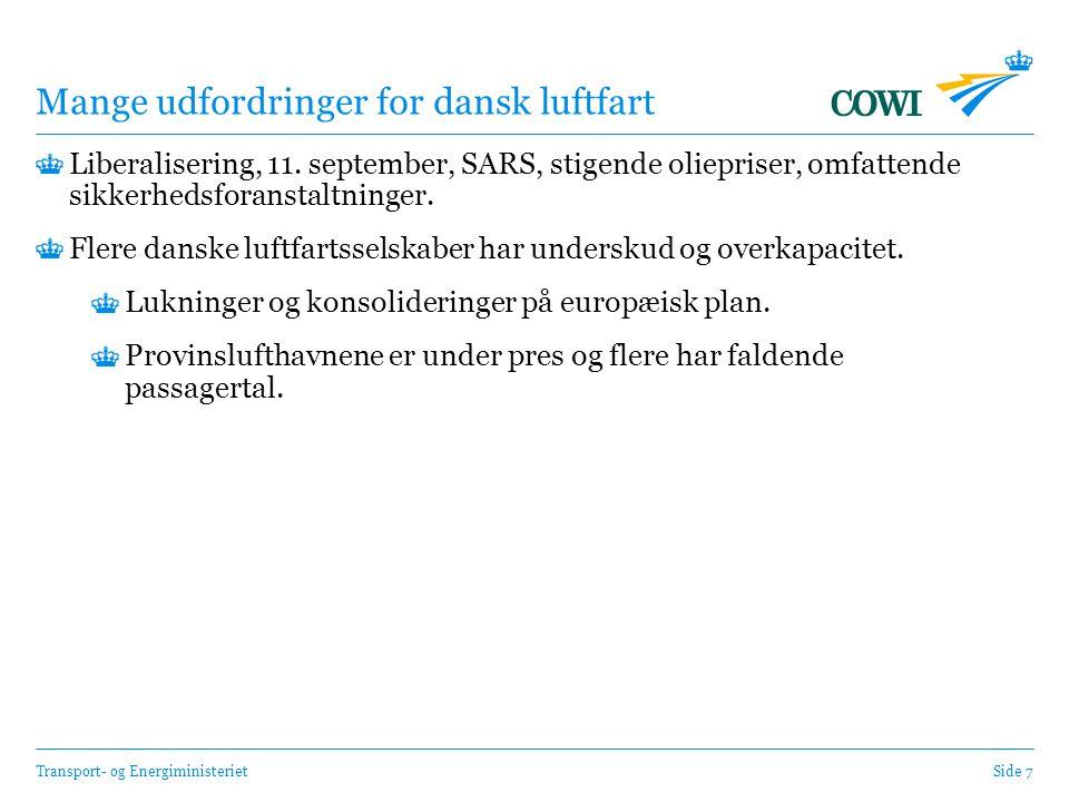 Transport- og EnergiministerietSide 7 Mange udfordringer for dansk luftfart Liberalisering, 11.