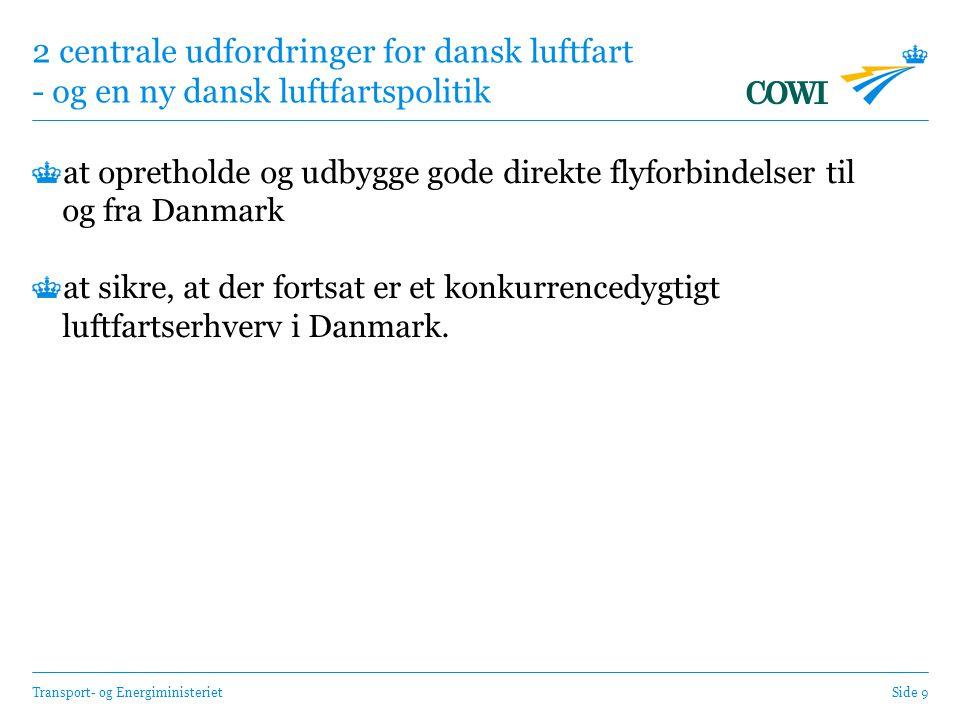 Transport- og EnergiministerietSide 9 2 centrale udfordringer for dansk luftfart - og en ny dansk luftfartspolitik at opretholde og udbygge gode direkte flyforbindelser til og fra Danmark at sikre, at der fortsat er et konkurrencedygtigt luftfartserhverv i Danmark.