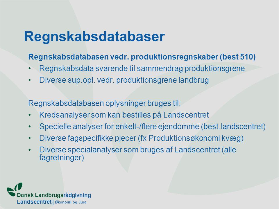 Dansk Landbrugsrådgivning Landscentret | Økonomi og Jura Regnskabsdatabaser Regnskabsdatabasen vedr.