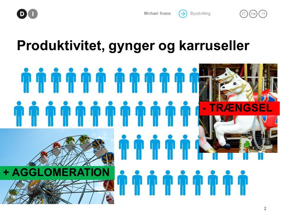 Byudvikling 27.maj 14 Michael Svane Produktivitet, gynger og karruseller 2 + AGGLOMERATION - TRÆNGSEL