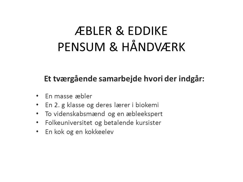 ÆBLER & EDDIKE PENSUM & HÅNDVÆRK Et tværgående samarbejde hvori der indgår: En masse æbler En 2.