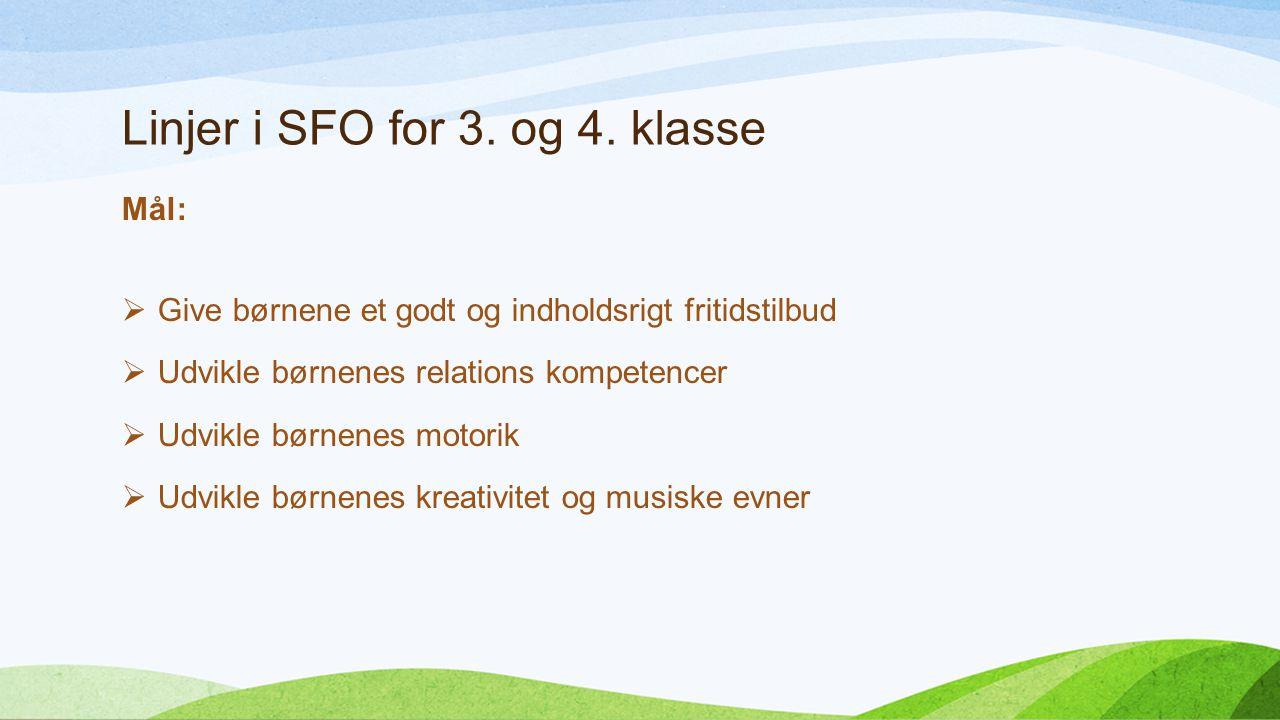 Linjer i SFO for 3. og 4.