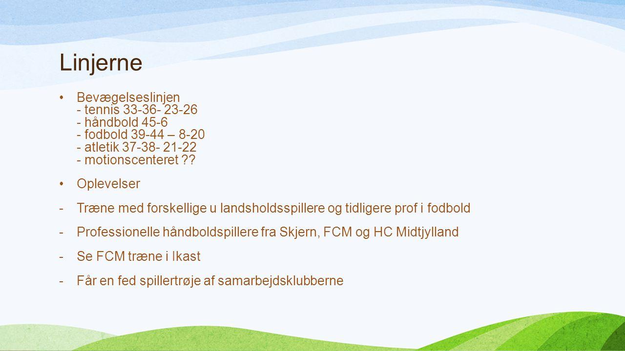 Linjerne Bevægelseslinjen - tennis 33-36- 23-26 - håndbold 45-6 - fodbold 39-44 – 8-20 - atletik 37-38- 21-22 - motionscenteret .