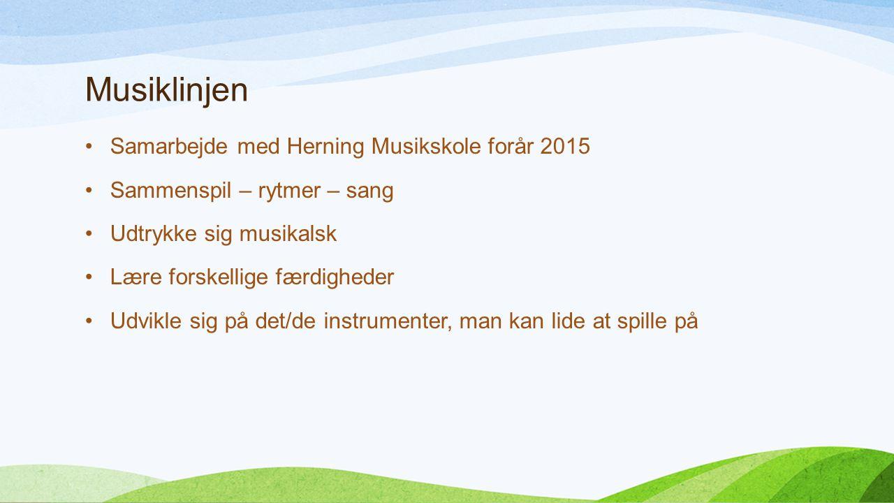Musiklinjen Samarbejde med Herning Musikskole forår 2015 Sammenspil – rytmer – sang Udtrykke sig musikalsk Lære forskellige færdigheder Udvikle sig på det/de instrumenter, man kan lide at spille på