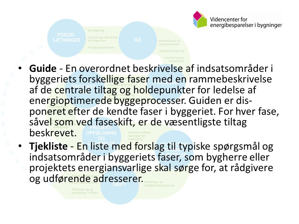 Guide - En overordnet beskrivelse af indsatsområder i byggeriets forskellige faser med en rammebeskrivelse af de centrale tiltag og holdepunkter for ledelse af energioptimerede byggeprocesser.