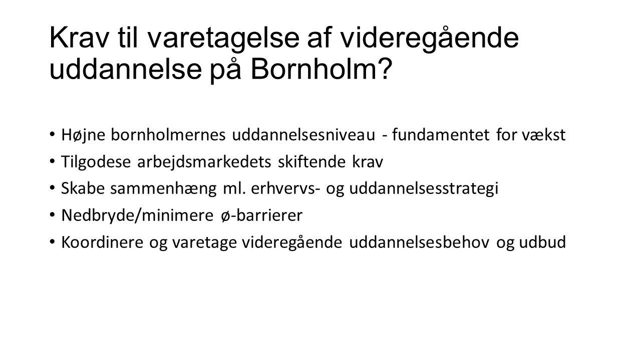 Krav til varetagelse af videregående uddannelse på Bornholm.