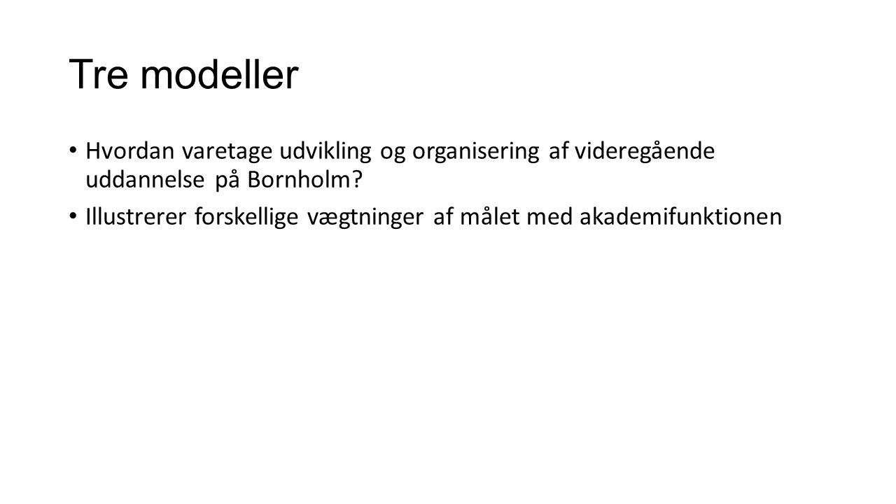 Tre modeller Hvordan varetage udvikling og organisering af videregående uddannelse på Bornholm.