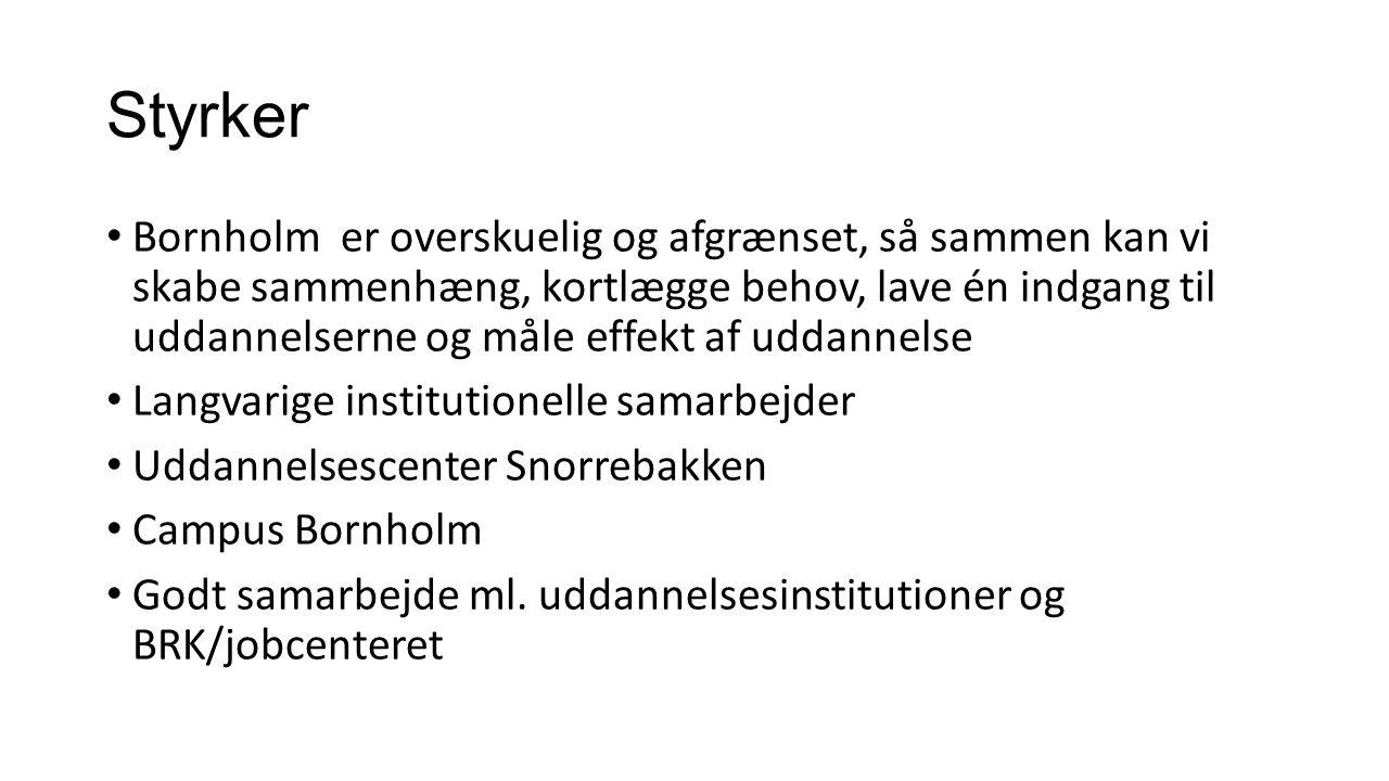 Styrker Bornholm er overskuelig og afgrænset, så sammen kan vi skabe sammenhæng, kortlægge behov, lave én indgang til uddannelserne og måle effekt af uddannelse Langvarige institutionelle samarbejder Uddannelsescenter Snorrebakken Campus Bornholm Godt samarbejde ml.