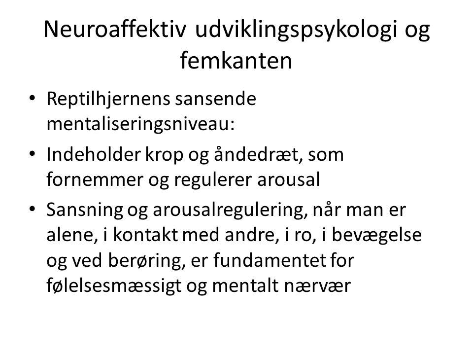 Neuroaffektiv udviklingspsykologi og femkanten Reptilhjernens sansende mentaliseringsniveau: Indeholder krop og åndedræt, som fornemmer og regulerer arousal Sansning og arousalregulering, når man er alene, i kontakt med andre, i ro, i bevægelse og ved berøring, er fundamentet for følelsesmæssigt og mentalt nærvær