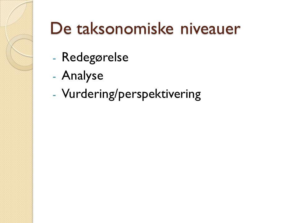 De taksonomiske niveauer - Redegørelse - Analyse - Vurdering/perspektivering