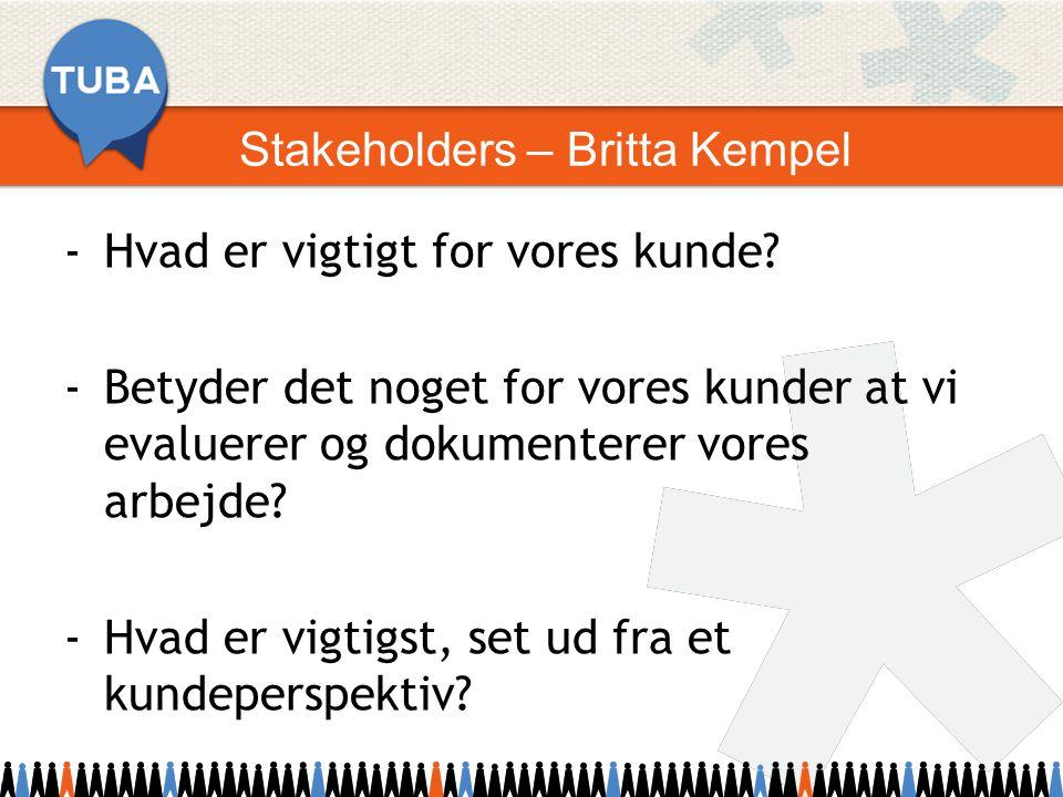 Stakeholders – Britta Kempel -Hvad er vigtigt for vores kunde.