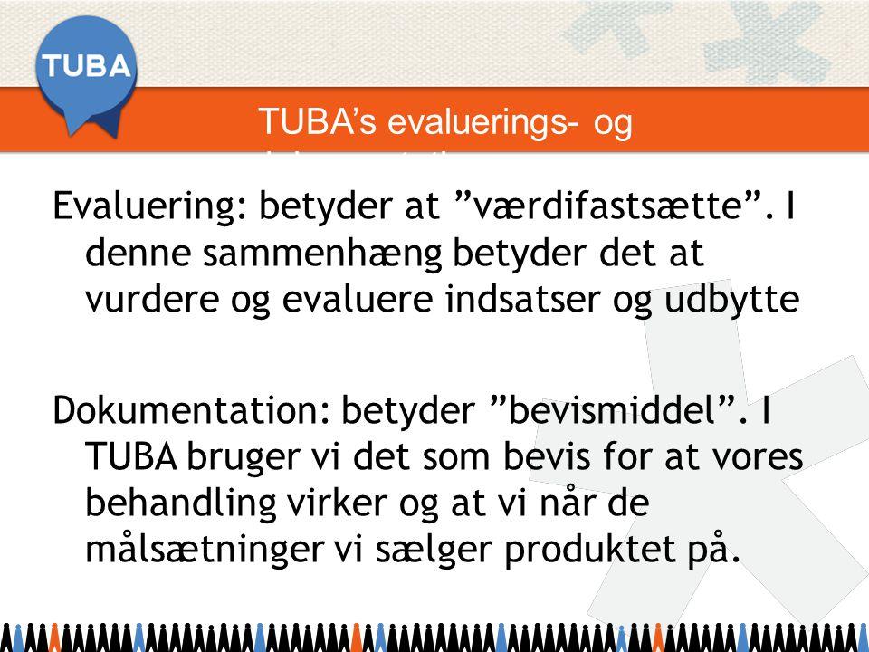 TUBA's evaluerings- og dokumentationsprogram Evaluering: betyder at værdifastsætte .