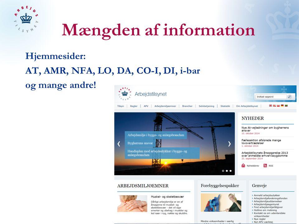 Mængden af information Hjemmesider: AT, AMR, NFA, LO, DA, CO-I, DI, i-bar og mange andre!