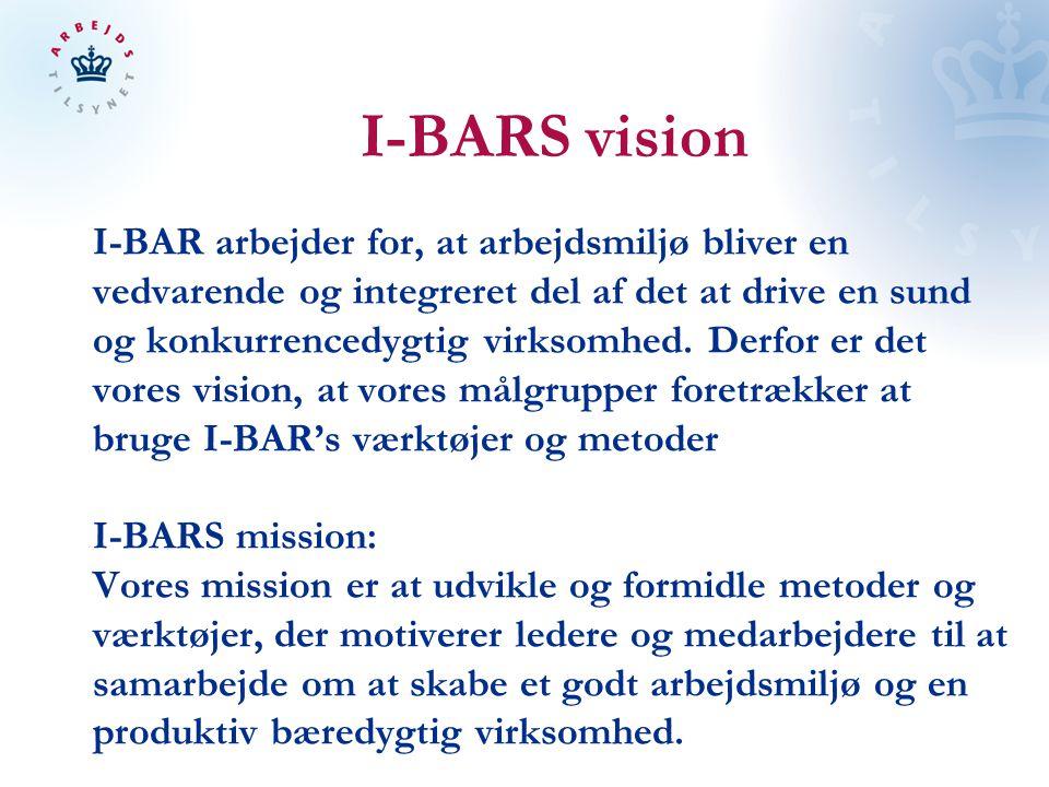 I-BARS vision I-BAR arbejder for, at arbejdsmiljø bliver en vedvarende og integreret del af det at drive en sund og konkurrencedygtig virksomhed.